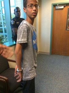 This photo of Ahmed Mohamed being arrested spread rapidly on social media.