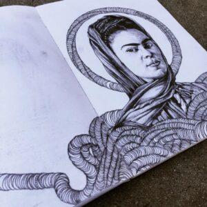 A sketch of Frida Kahlo by Steve Martinez.