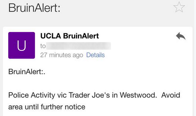 UCLA issues a campus-wide alert about the gunman on the loose.