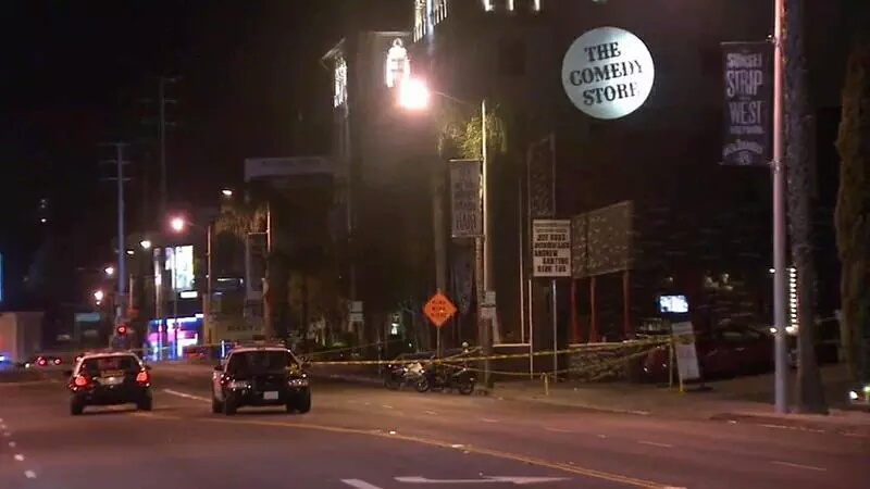 Police closed off a portion of Sunset Boulevard after the shooting. Photo via Twitter @thecomicscomic