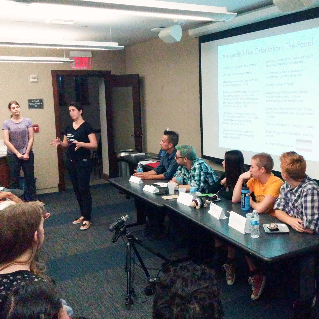 Samantha Chappell (left) of Ace LA discusses asexual terminology. From left to right, the panelists: Carmelo, Brennan, Brelyn, Riley, and Alston.