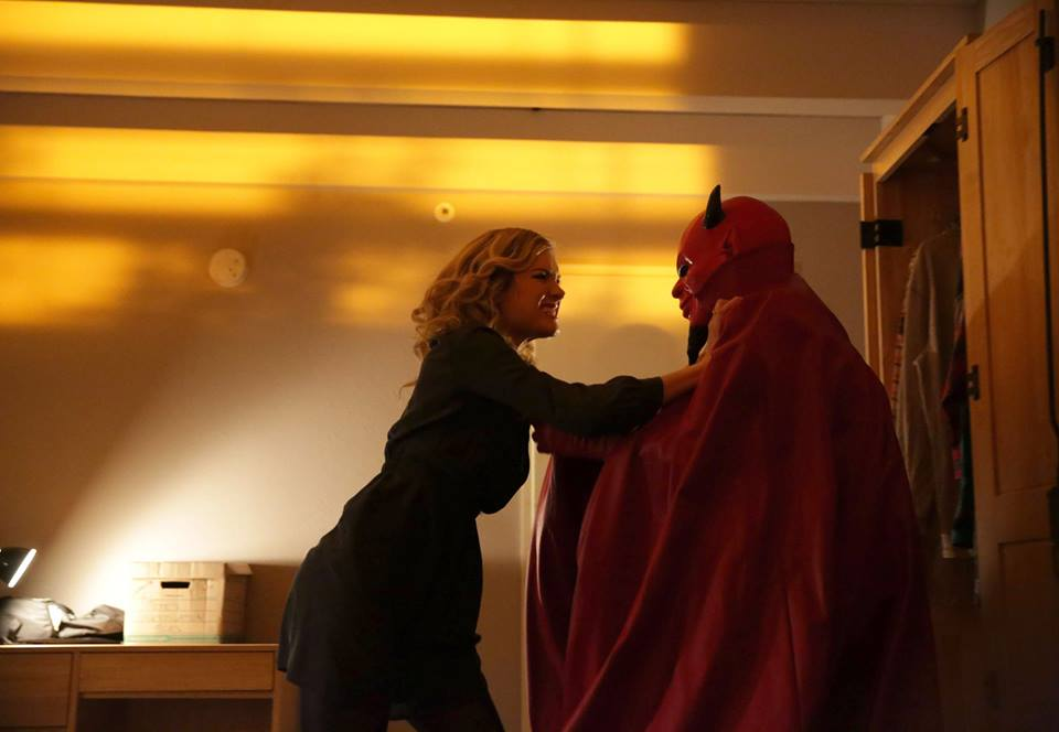 "Grace (Skyler Samuels) did battle with the Red Devil killer on ""Scream Queens.""  Photo courtesy of Patti Perret/FOX."