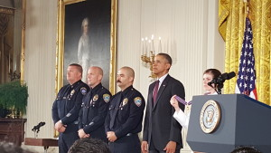 Captain Ray Bottenfield (left), Officer Robert Sparks (center), Officer Jason Salas (right), are awarded the National Medal of Valor from President Barack Obama for their outstanding courage.