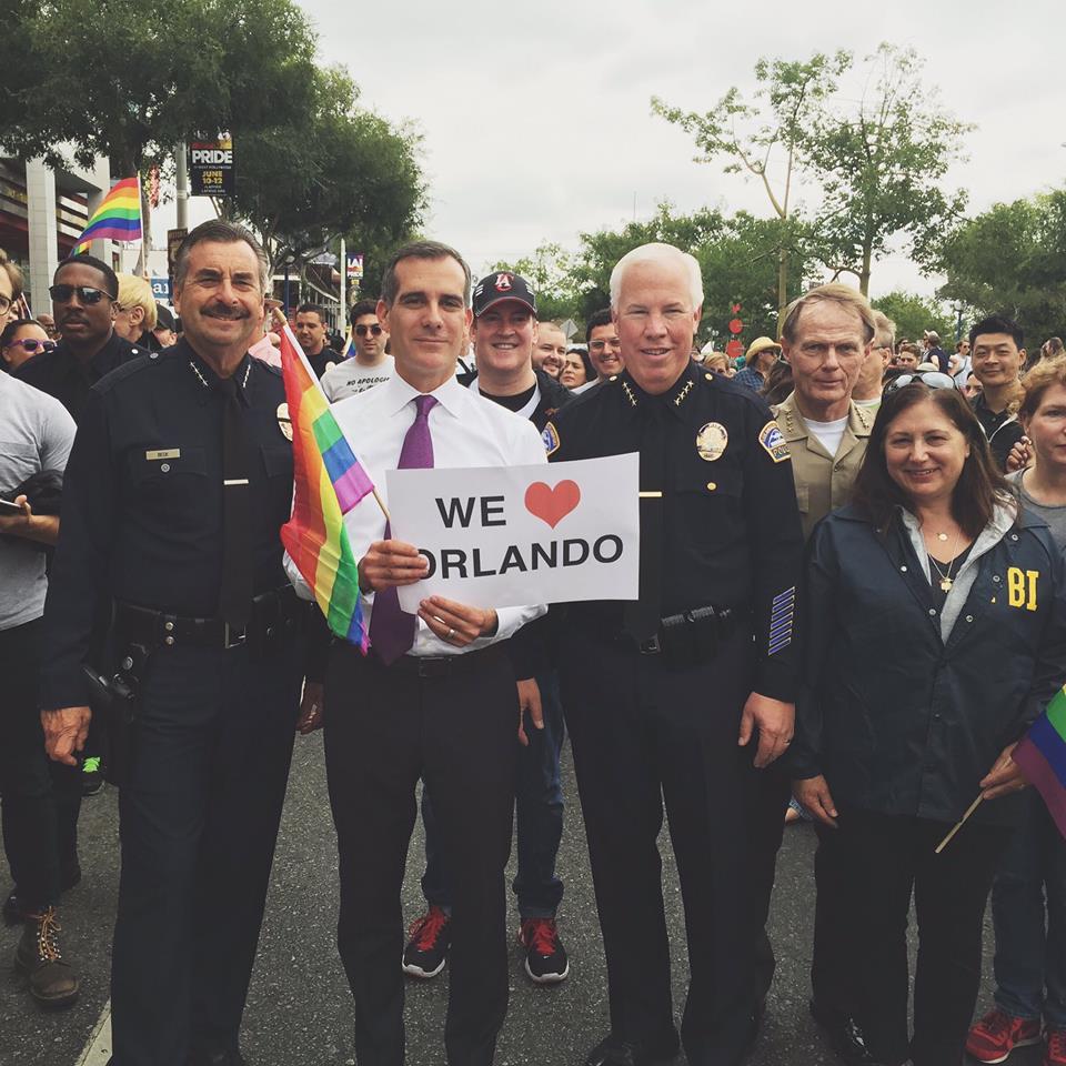 Mayor Garcetti at the LA Pride Parade.