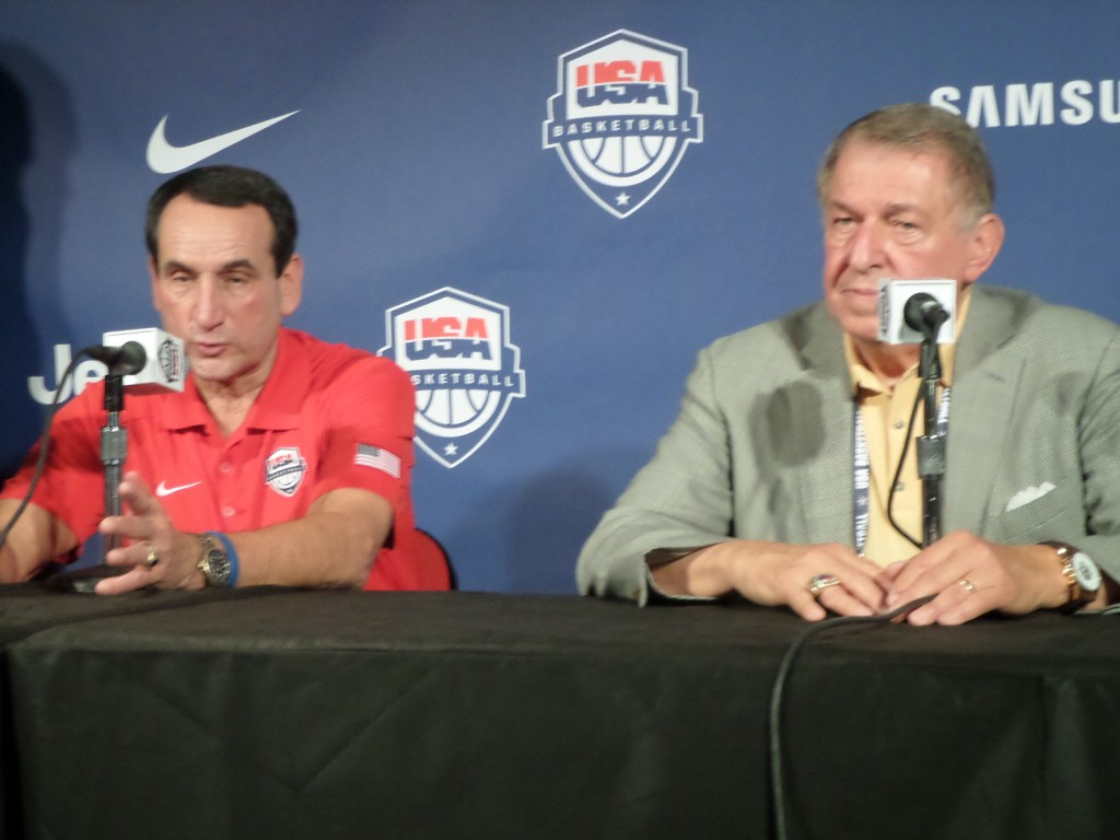 Team USA Head Coach Mike Krzyzewski and Managing Director Jerry Colangelo answer questions at a 2014 press conference. (PHOTO: Michael C. Floch)