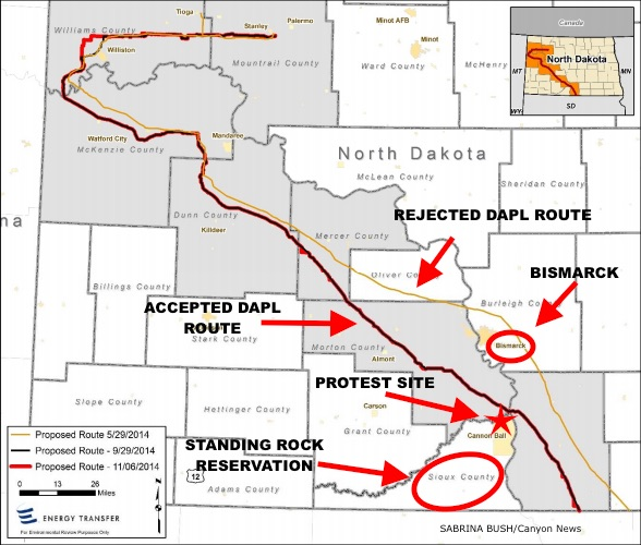 DAPL rejected route through Bismarck and accepted route through Standing Rock Reservation.