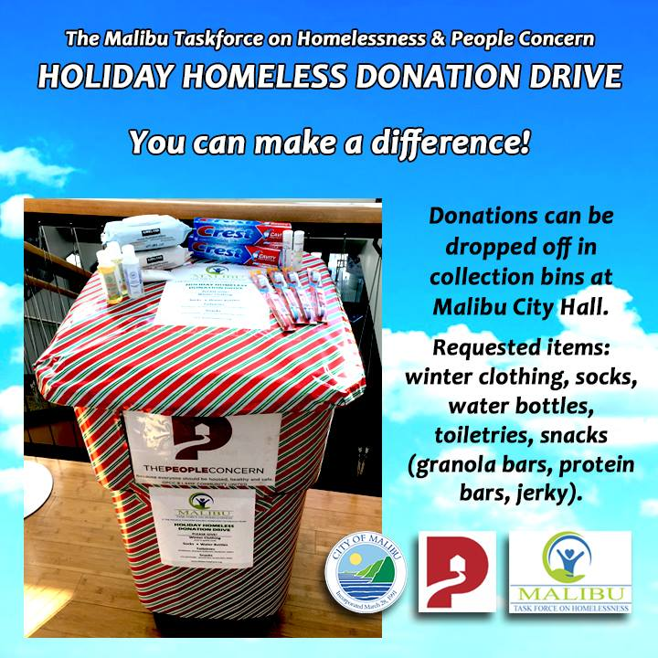 Holiday Homeless Collection Drive Malibu