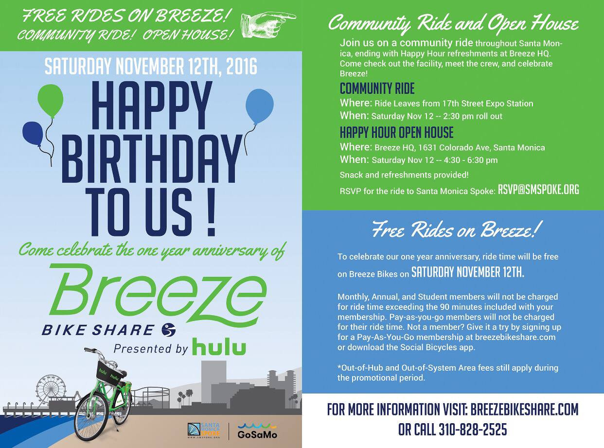 Breeze One Year Anniversary Community Ride Santa Monica