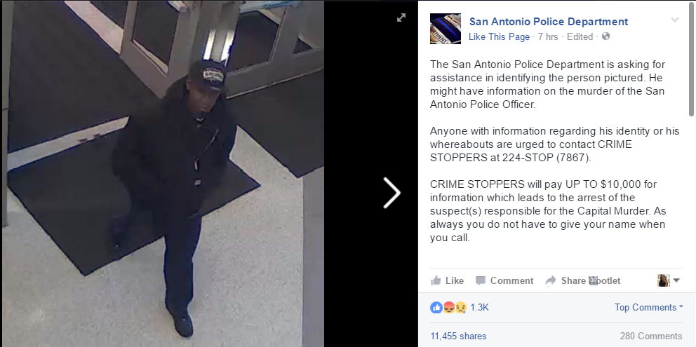 The man San Antonio police suspect has information about the shooting. (credit: San Antonio Police Department Facebook Page)