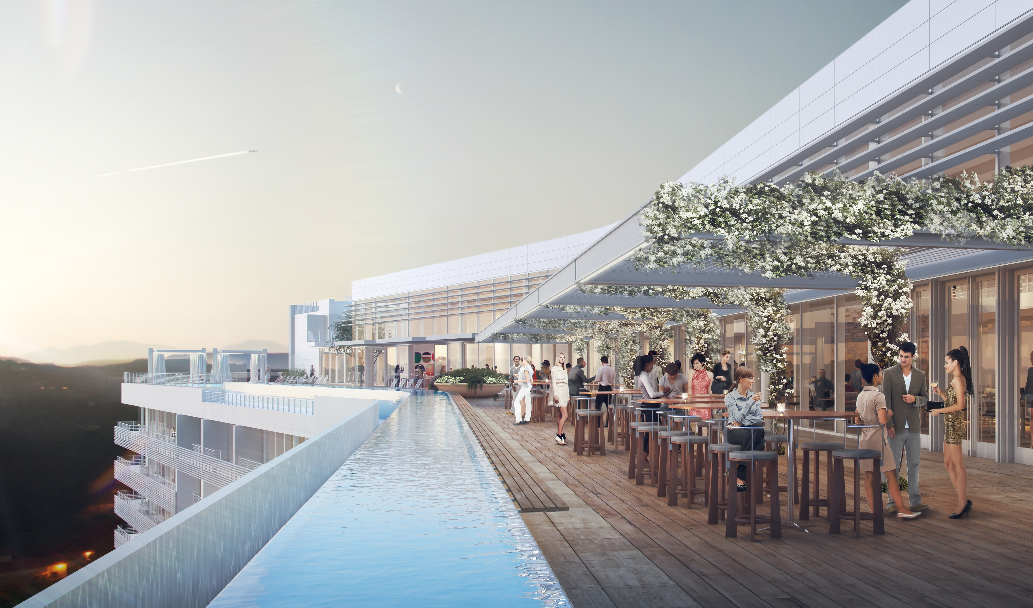 "One Beverly Hills rooftop bar area with ""panoramic views."""