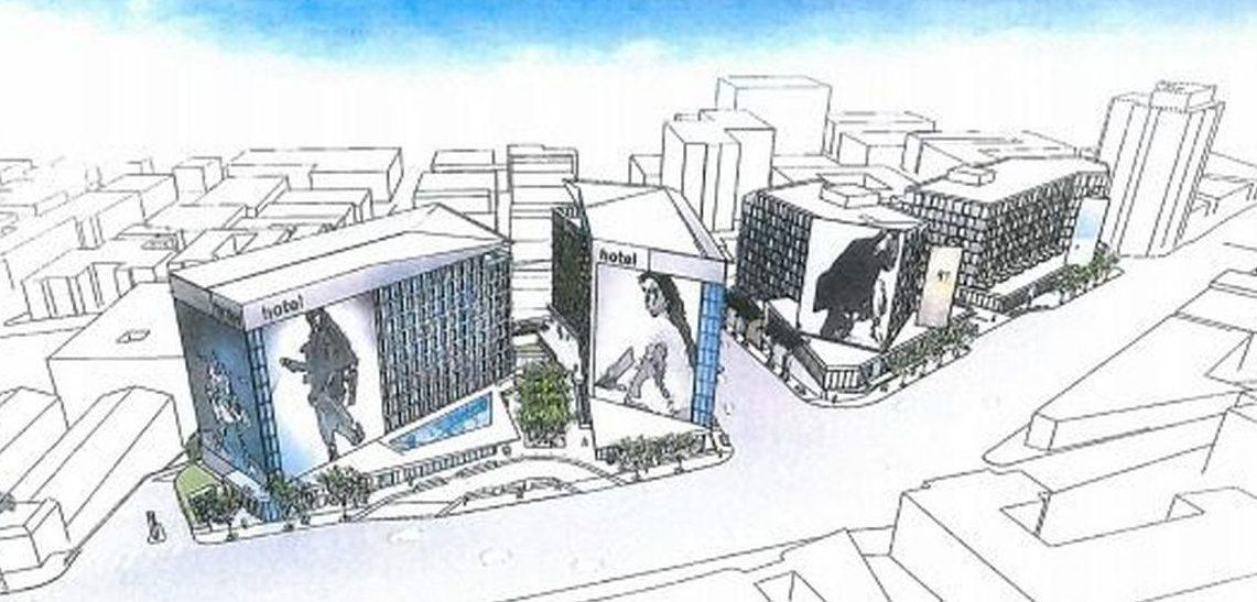 Sunset La Cienga hotel and condominium complex sketch.