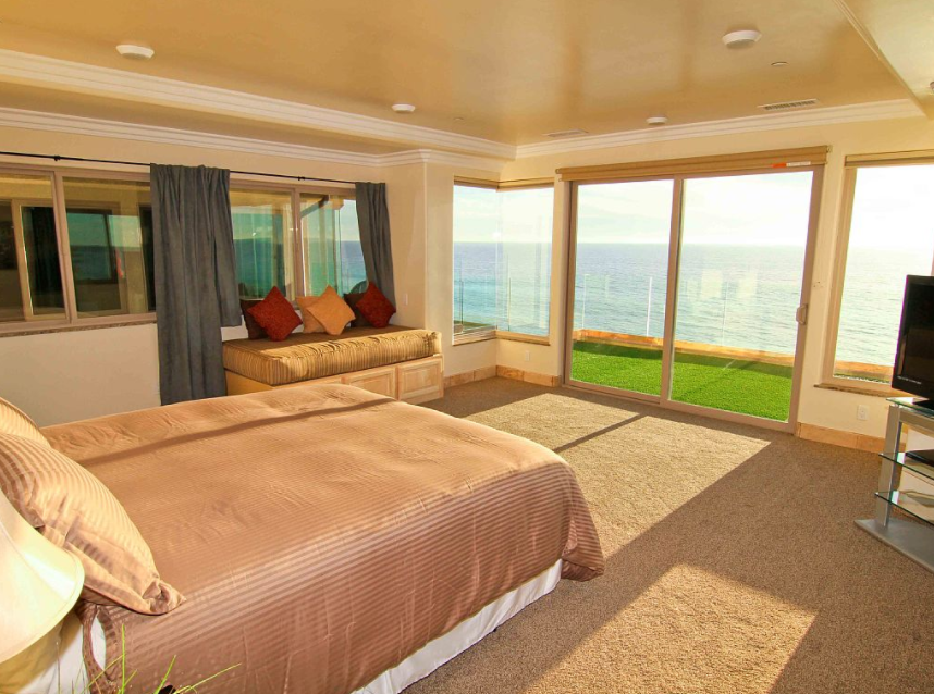 One of 11 bedrooms in the Oceanside estate.