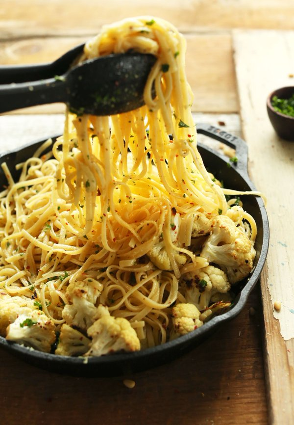 Garlic Chili Pasta With Roasted Cauliflower from Minimalist Baker