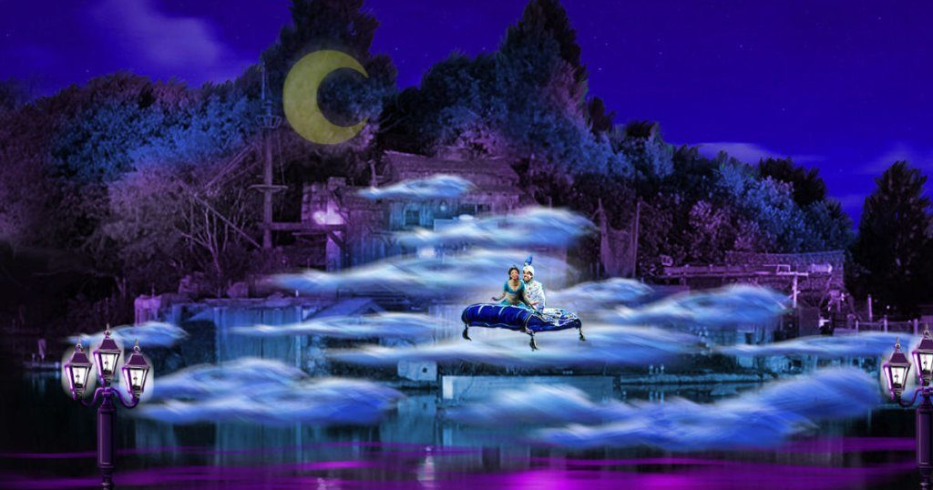 One of the new features of Fantasmic!: Aladdin and Jasmine drift above a bed of fog on their magic carpet