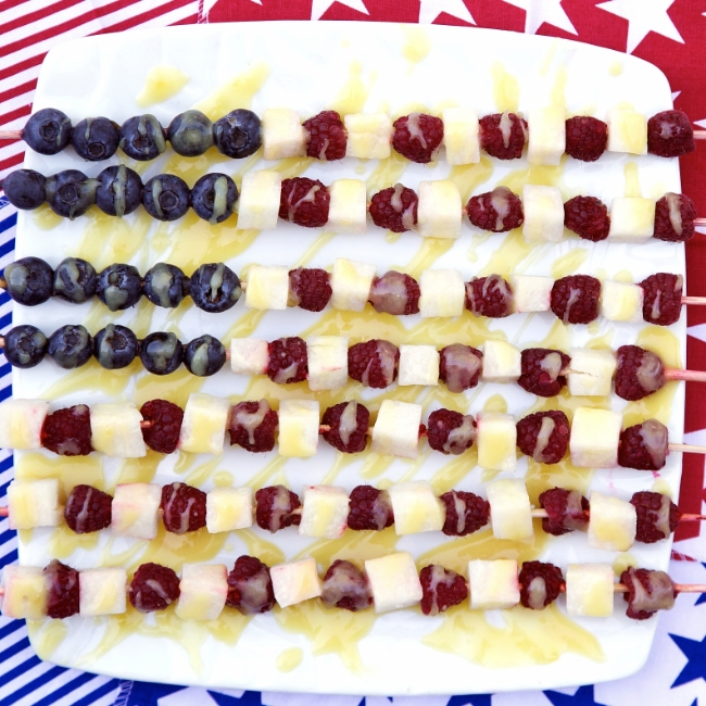 American Flag Fruit Skewers with Easy Lemon Curd Sauce, from Apron Strings