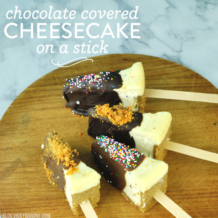 Chocolate-Covered Cheesecake on a Stick, from Vicky Barone