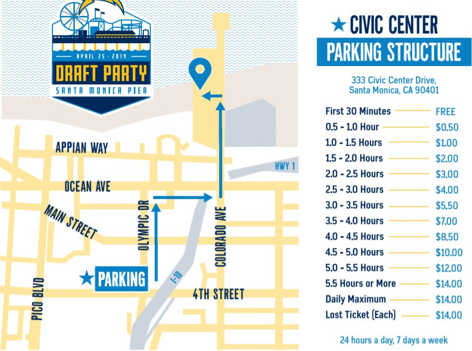 LA Chargers Host First NFL Draft Party At The Santa Monica ... on walt disney concert hall map, santa monica college map, pier 39 map, south coast botanic garden map, santa monica airport map, the getty center map, grauman's chinese theatre map, playa del rey ca map, aquarium of the pacific map, knott's berry farm map, 3rd street promenade map, santa monica mountains map, santa monica high school map, cbs studios map, house of blues anaheim map, pacific park map, san quentin state prison map, old mission santa barbara map, oaks amusement park map, morey's piers map,