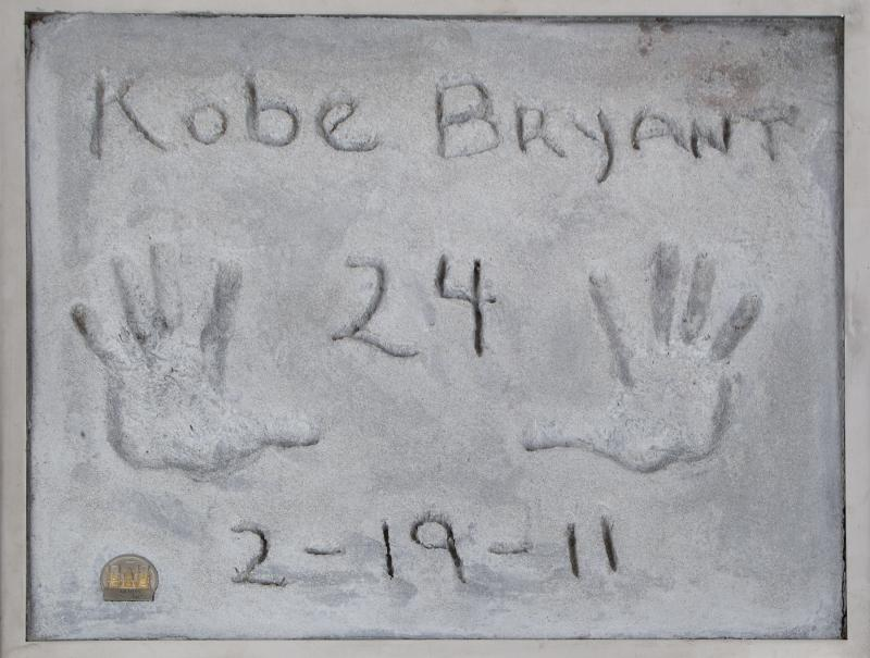 Photo taken right before being released to the auction. Concrete from handprint of Kobe Bryant from Hollywood's famed Graupman's Chinese theater