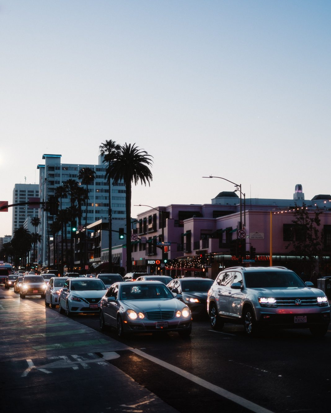 Cars driving in Santa Monica.